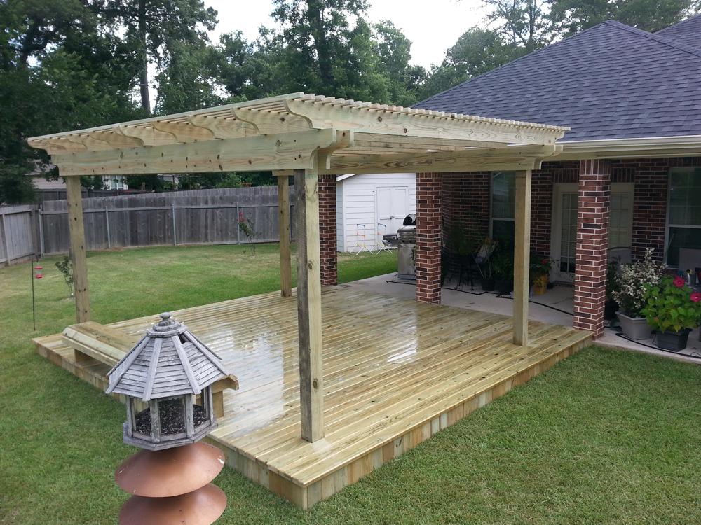 Detached arbors and pergolas houston custom decks pergola for Detached patio